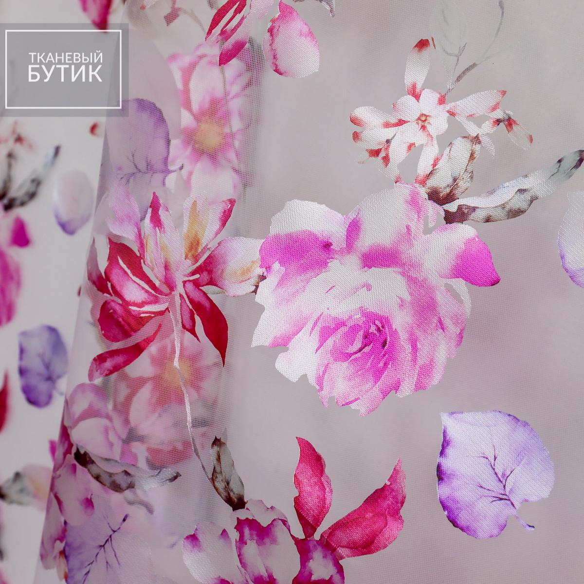 Белая сетка с ламинацией и цветочным принтом
