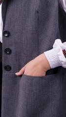 Классик. Стильный офисный костюм двойка plus size. Серый.