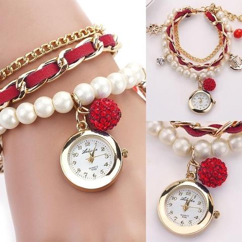 Часы-браслет с жемчугом (красный)