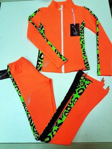 Термокомплект со стразами, рост 128 (оранжевый, с вставками - леопард) +резинка
