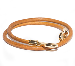 Браслет Nialaya Brown Double-Wrap Leather Bracelet with Gold Hook Lock