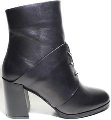 Ботильоны кожаные черные на каблуке Joulie
