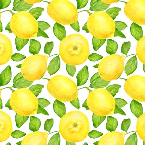 Сочные цитрусы. Акварельные лимоны с листьями