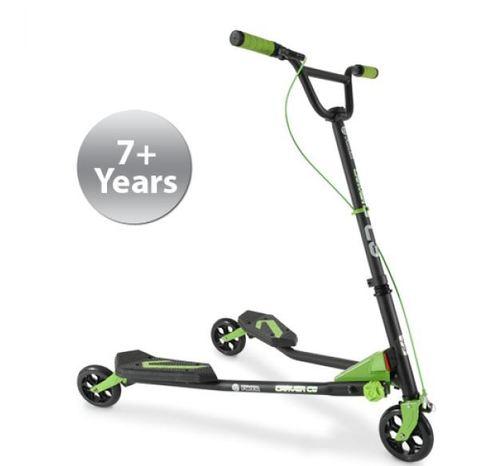 Самокат инерционный для подростка и взрослого Yvolution Fliker Carver, зеленый
