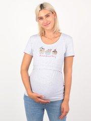 Евромама. Футболка для беременных и кормящих Капкейки, меланж серый