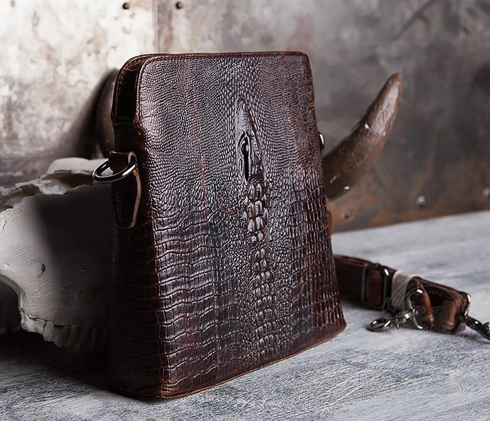 """BAG431-2 Стильная мужская сумка из натуральной кожи с фактурой """"под крокодила"""" фото 02"""
