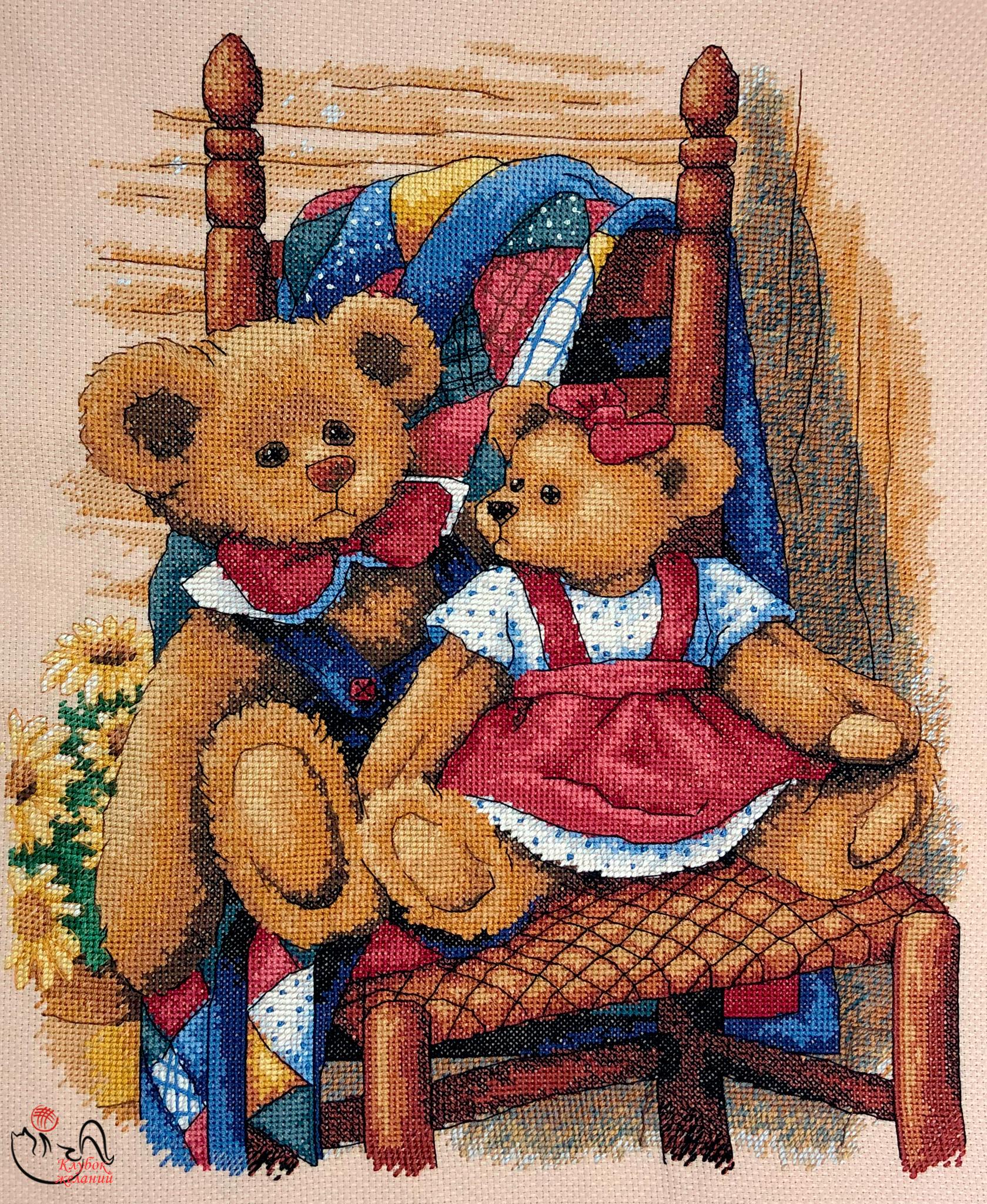 Набор для вышивания Мишки на лоскутном одеяле.  Арт. 3093