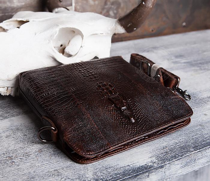 """BAG431-2 Стильная мужская сумка из натуральной кожи с фактурой """"под крокодила"""" фото 03"""