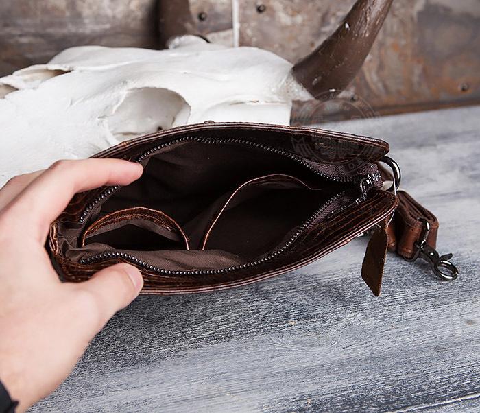 """BAG431-2 Стильная мужская сумка из натуральной кожи с фактурой """"под крокодила"""" фото 04"""