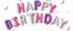 "Набор шаров-букв ""Happy BirthDay"" розово-фиолетовый 41 см"