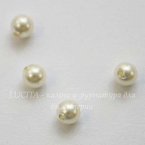 5818 Хрустальный жемчуг Сваровски Crystal Cream круглый с несквозным отверстием 4 мм, 4 штуки