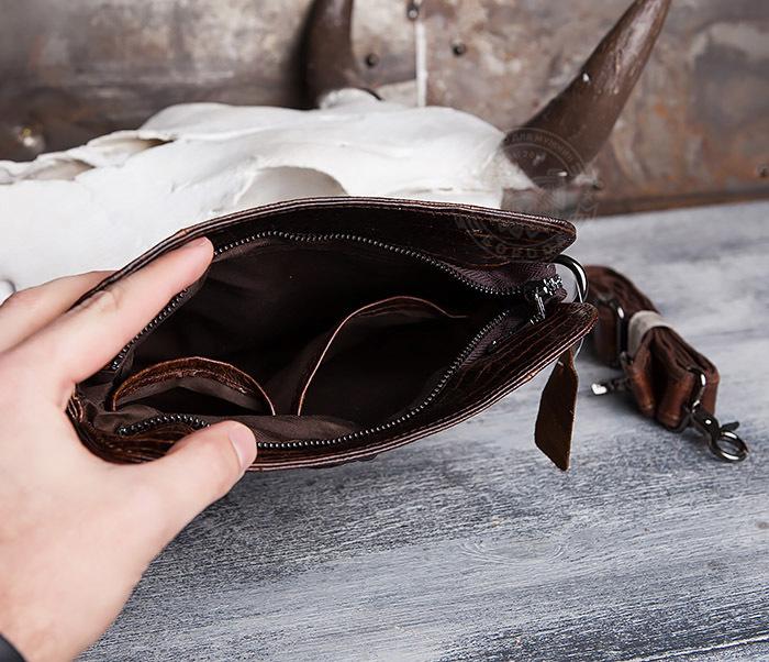 """BAG431-2 Стильная мужская сумка из натуральной кожи с фактурой """"под крокодила"""" фото 05"""