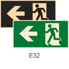 знаки фотолюминесцентные эвакуационные Е32 Направление к эвакуационному выходу налево