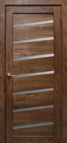 Дверь Эколайт Дорс Диагональ, стекло белое матовое, цвет дуб шоколадный, остекленная