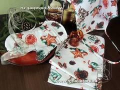 новогодний подарочный набор - фартук, полотенце, рукавица