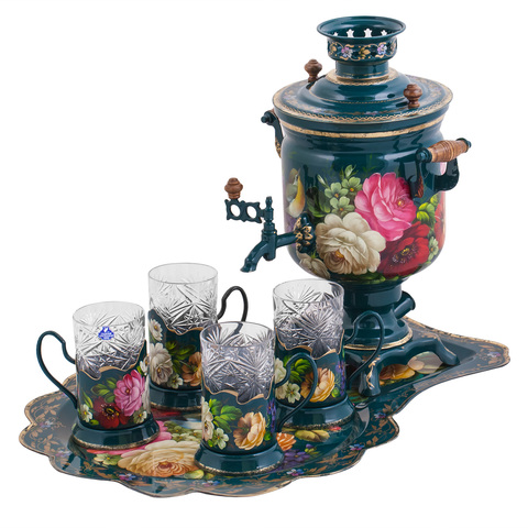 Zhostovo samovar, hand forged tray and 4 tea glass holders in gift box – set of 4 tea glass holders SET01D1911914835