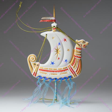 Игрушка фарфоровая плоская - Корабль