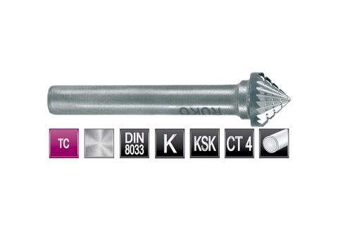 Бор-фреза Ruko твердосплавная K(KSK) 90° 12,0х7мм S=6мм 116230