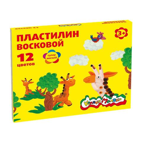 Пластилин восковой Каляка-Маляка 12 цветов, 180 г со стеком/ПВКМ12