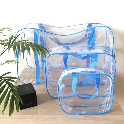 Прозрачная сумка в роддом с 2 косметичками, голубая