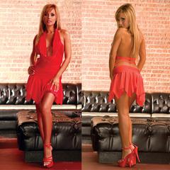 Клубное платье с асимметричной юбкой. Красное. CL083