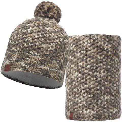 Комплект шапка шарф вязаный с флисом Buff Margo Brown Taupe