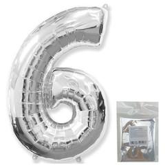 Цифра, 6, Серебро, F 40''/102 см, 1 шт. в упаковке