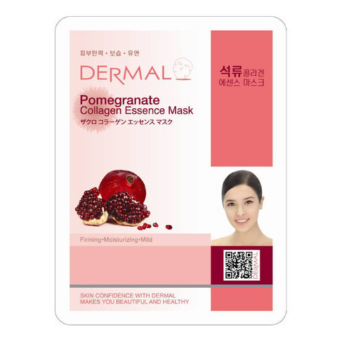 DERMAL Маска д/лица ткан. ГРАНАТ и КОЛЛАГЕН - Pomegranate Collagen Essence Mask, 23 гр