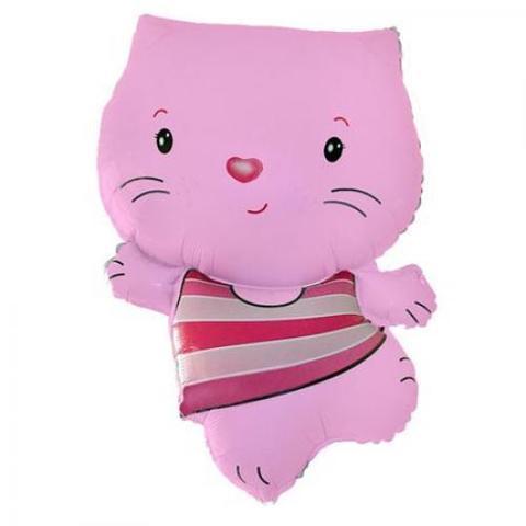Фольгированный воздушный шар Котенок. Розовый.