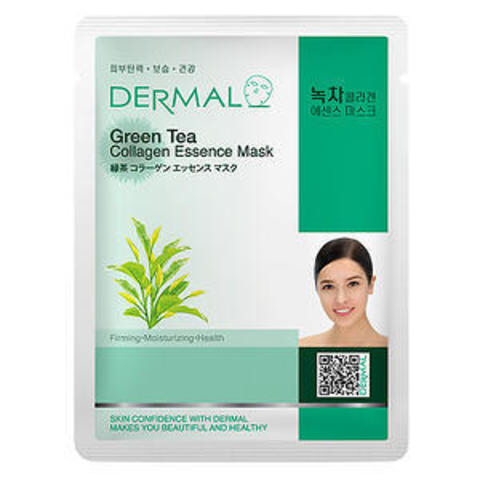 Dermal Маска д/лица ткан. зеленый чай и коллаген Green Tea Collagen Essence Mask, 23 гр