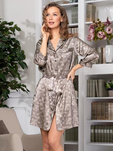 Короткий халат на пуговицах MIA-Amore AJUR АЖУР 8777
