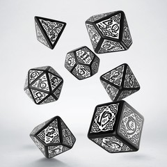 Celtic 3D Revised Black & white Dice Set (7)