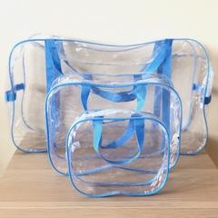 Прозрачная сумка в роддом с 2 косметичками, голубая, вид 3