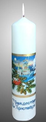 Свеча рождественская столб большой с глиттером