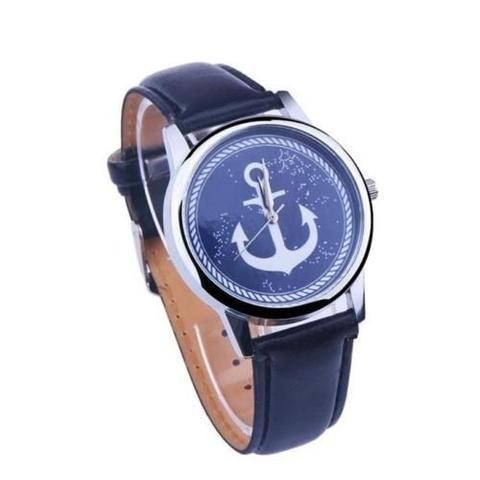 Часы с серебряным якорем (черный)