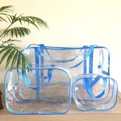 Прозрачная сумка в роддом с 2 косметичками, голубая, вид 2