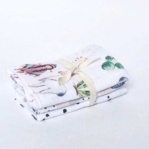 Сет из 3х муслиновых салфеток Mjölk  Ламы