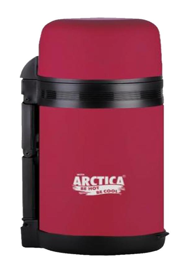 Термос универсальный (для еды и напитков) Арктика (0,8 литра) с широким горлом, красный матовый