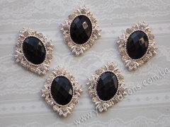 Камни овалы в золотом ромбовом обрамлении черные (10шт)