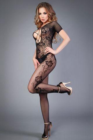 Боди-комбинезон 04500 черного цвета c рукавом и вырезом на груди фото