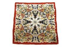 Итальянский платок из шелка бордово-коричневый с орнаментом 5101