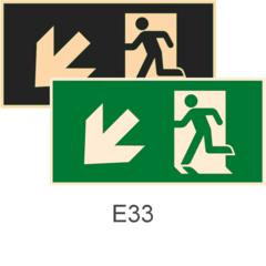 фотолюминесцентные знаки безопасности Е33 Направление к эвакуационному выходу налево вниз