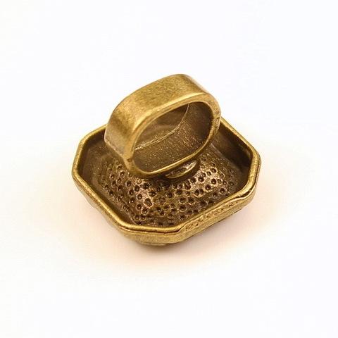 Бусина металлическая (для шнура 10х7 мм) 19х19х16 мм с сеттингом для страза 12х12 мм (цвет - античная бронза)