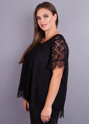 Квитка. Гипюровая блуза size plus. Черный.
