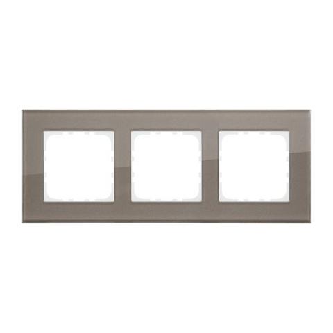 Рамка на 3 поста, натуральное стекло. Цвет Серо-коричневый. LK Studio LK80 (ЛК Студио ЛК80). 844319-1