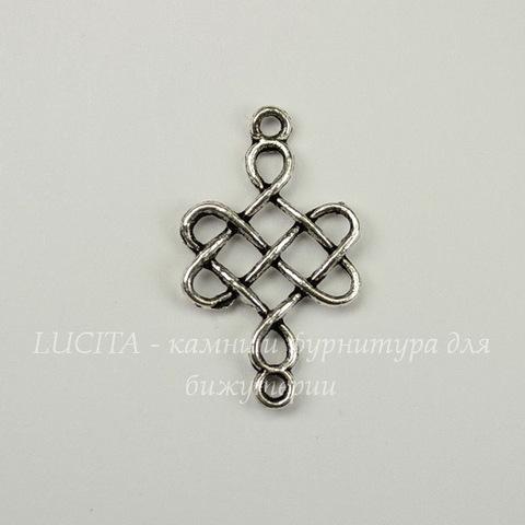 """Коннектор """"Китайский узел"""" (цвет- античное серебро) (1-1) 31х18 мм"""