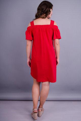 Клариса. Модна сукня великих розмірів. Червоний.