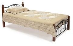 Кровать АТ-808 200x90 (Single деревянные ламели) Черный/Красный дуб