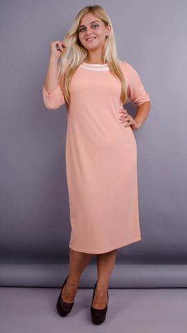 Вівіан. Оригінальна сукня великих розмірів. Персик.