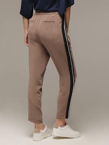 Женские серо-коричневые брюки из 100% шелка - фото 2